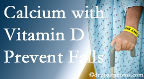 Calcium and vitamin D supplementation may be suggested to Manchester chiropractic patients who are at risk of falling.