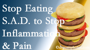 Manchester chiropractic patients do well to avoid the S.A.D. diet to decrease inflammation and pain.
