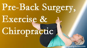 Manchester Chiropractic & Sports Injuries offers beneficial pre-back surgery chiropractic care and exercise to physically prepare for and possibly avoid back surgery.