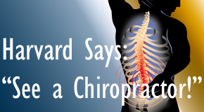 Manchester chiropractic for back pain relief urged by Harvard