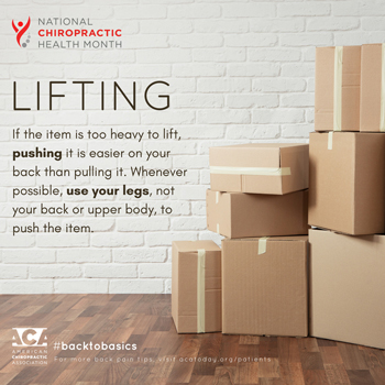 Manchester Chiropractic & Sports Injuries advises lifting with your legs.
