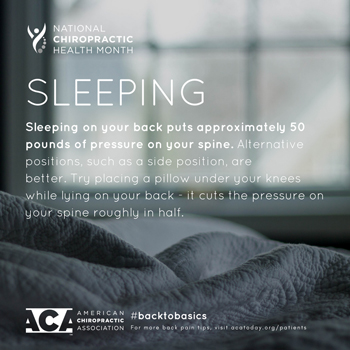 Manchester Chiropractic & Sports Injuries recommends putting a pillow under your knees when sleeping on your back.